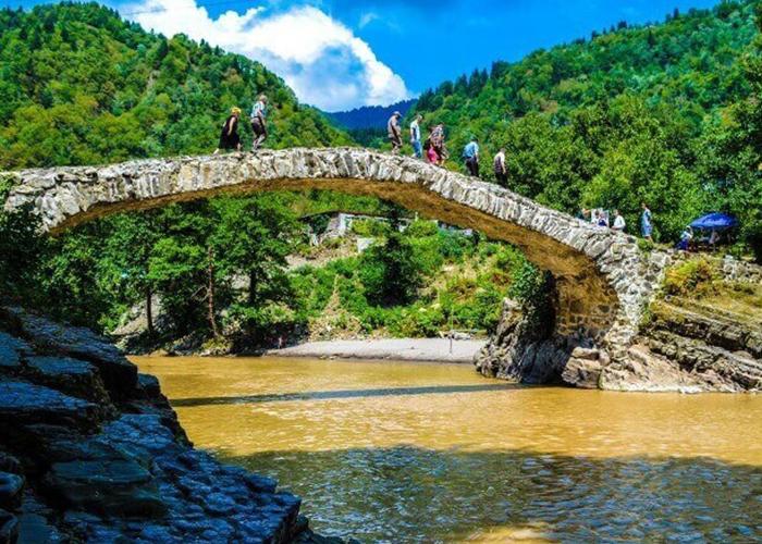 Makhuntseti Waterfall And King Tamar Bridge Tangerine